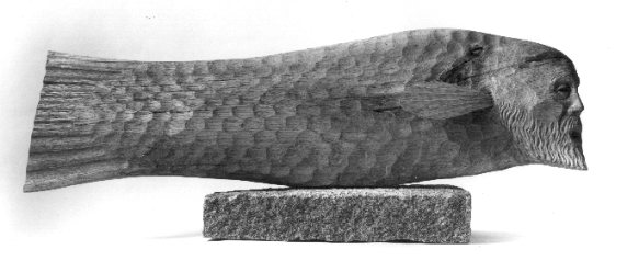 MONKFISH sculpture by S. Lindsay; oak & granite